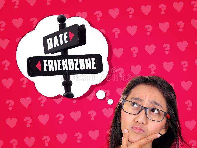 Entre une date et un Friendzone illustration de vecteur