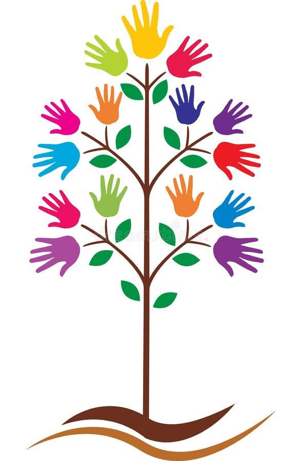 Entrega a árvore ilustração stock