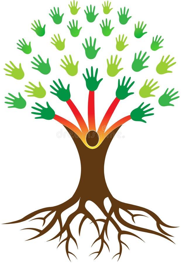 Entrega a árvore com raiz ilustração stock