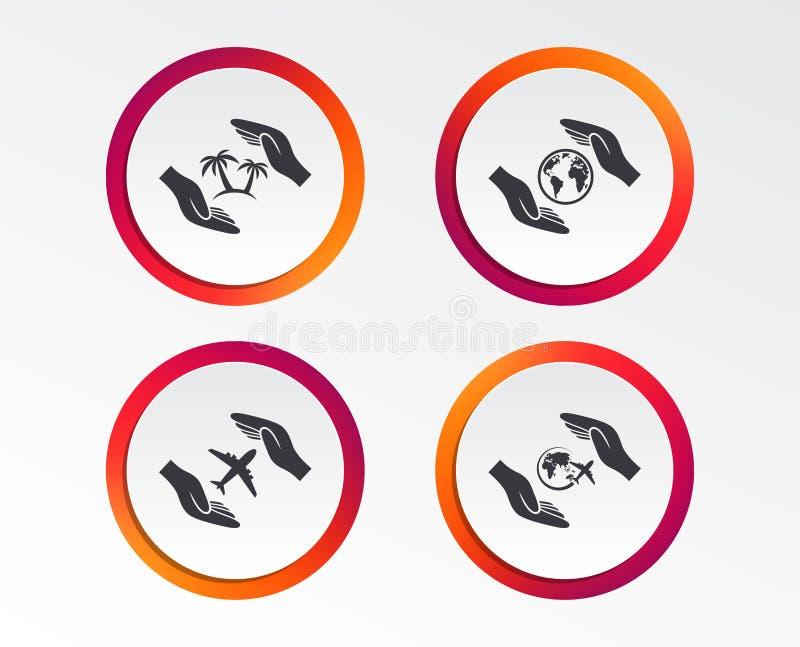 Entrega ícones do seguro Voos da viagem do curso ilustração do vetor