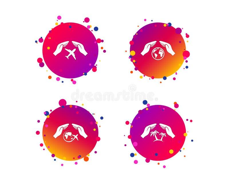 Entrega ícones do seguro Voos da viagem do curso Vetor ilustração royalty free