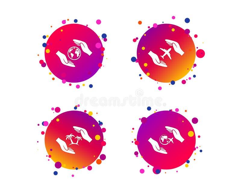 Entrega ícones do seguro Voos da viagem do curso Vetor ilustração stock