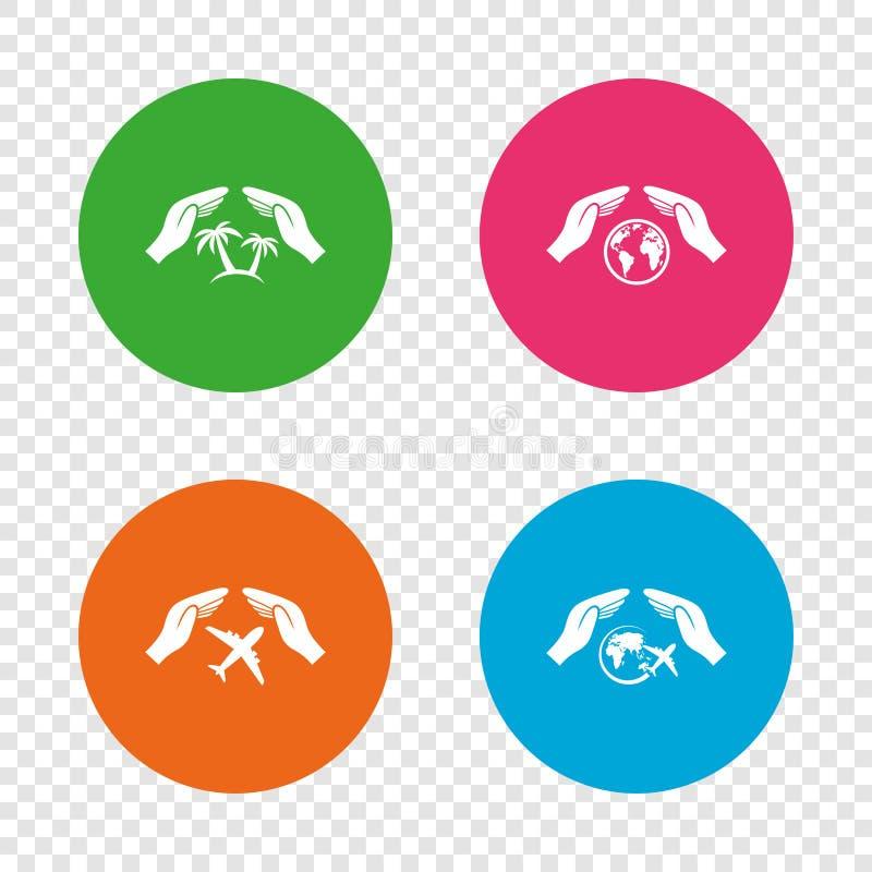Entrega ícones do seguro Voos da viagem do curso ilustração royalty free