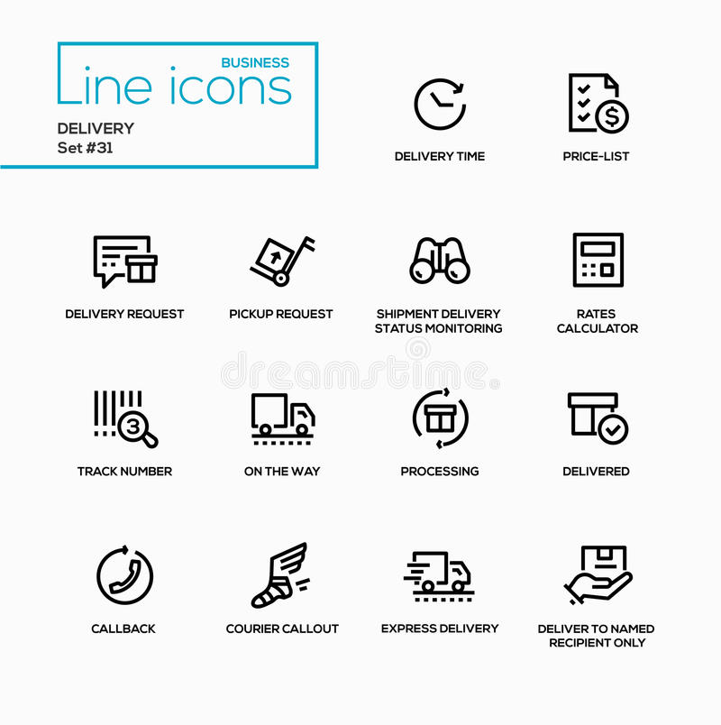 Entrega - única linha ícones do vetor moderno ajustados ilustração royalty free