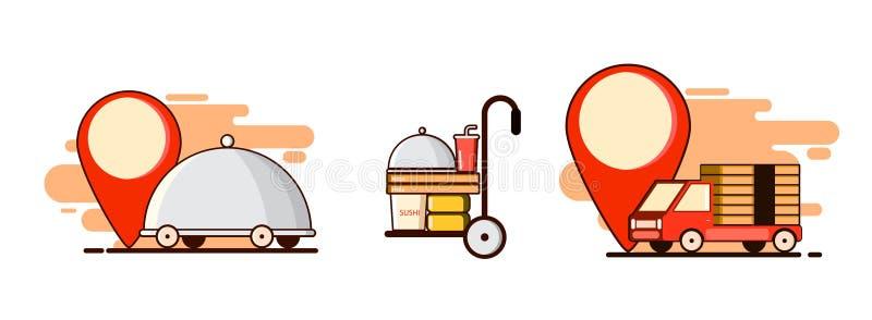 Entrega ajustada com carro e alimento Ponto, marca Vetor ilustração royalty free