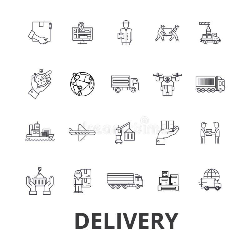 Entrega, alimento, entrega livre, correio, caminhão, entrega da pizza, linha ícones do transporte Cursos editáveis Projeto liso ilustração stock