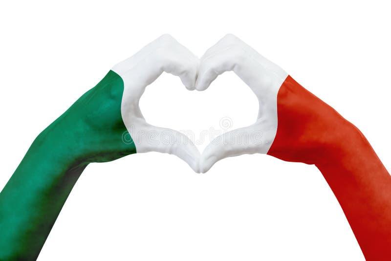 Entrega a bandeira de México, dão forma a um coração Conceito do símbolo do país, isolado no branco ilustração royalty free