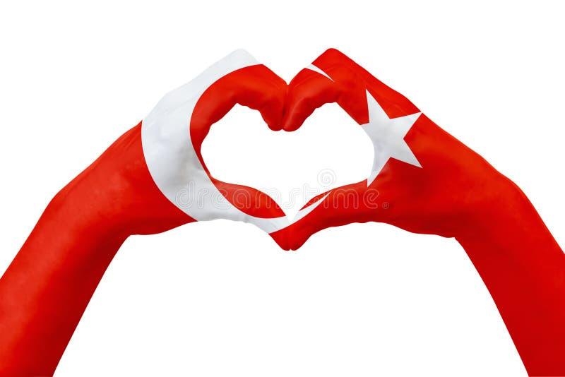Entrega a bandeira de Turquia, dão forma a um coração Conceito do símbolo do país, isolado no branco ilustração royalty free
