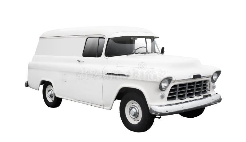 Entrega branca Van do vintage no branco fotos de stock royalty free