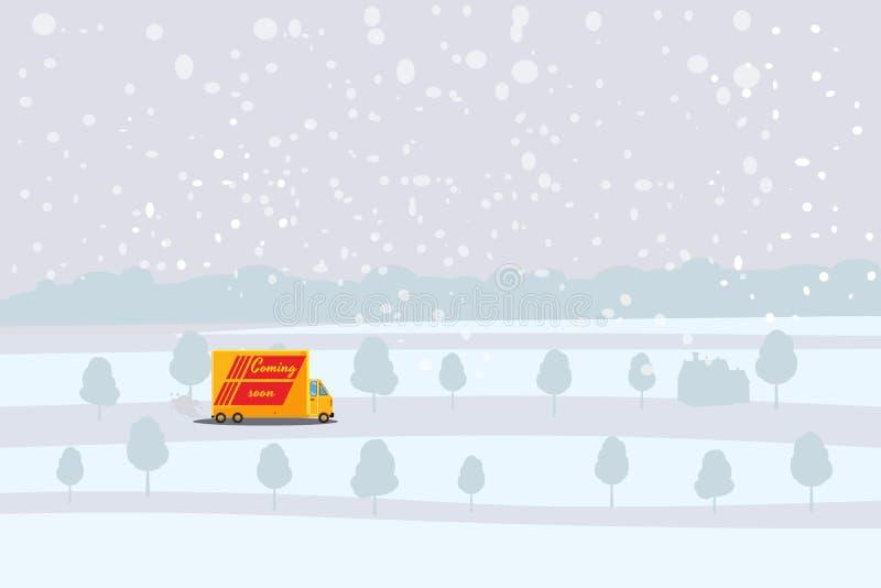 Entrega, camión que lleva un cargo al beneficiario, fondo del paisaje del invierno, vector, bandera, ejemplo, historieta libre illustration