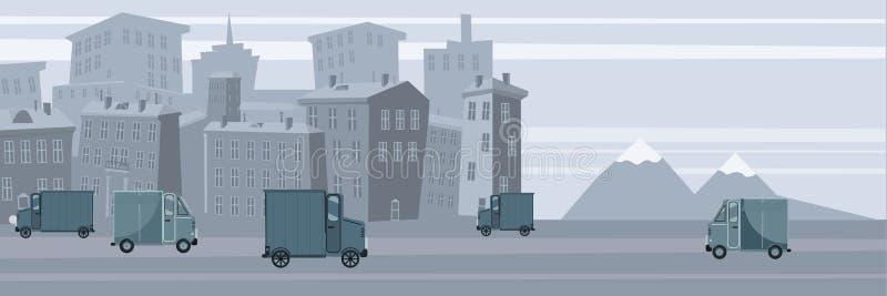 Entrega, cami?n que transporta el cargo al fondo receptor, urbano del paisaje, vector, bandera, ejemplo, historieta ilustración del vector