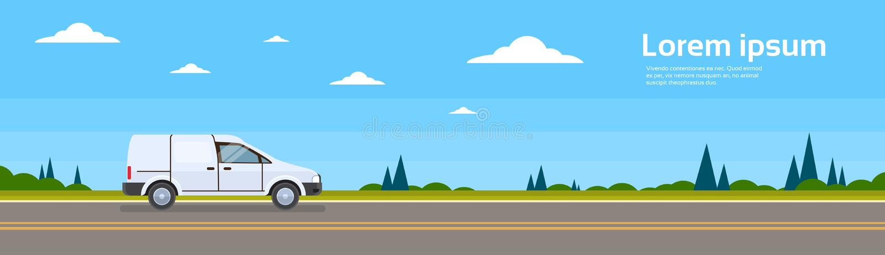Entrega comercial do transporte de Van Car On Road Cargo ilustração do vetor