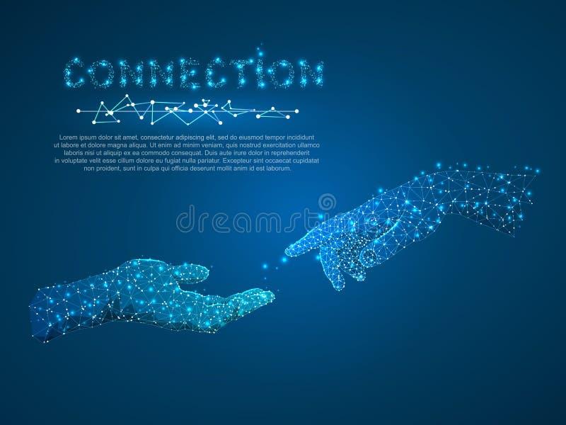 Entrega a conexão, a conversação do negócio, o ponto baixo poligonal poli com pontos de conexão e as linhas Uma comunicação dos p ilustração royalty free