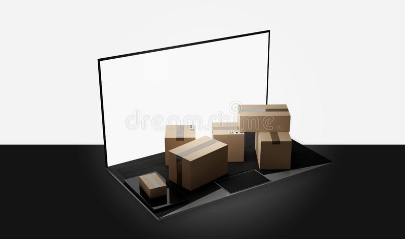 Entrega 3d-illustration dos pacotes do portátil do caderno do computador ilustração royalty free