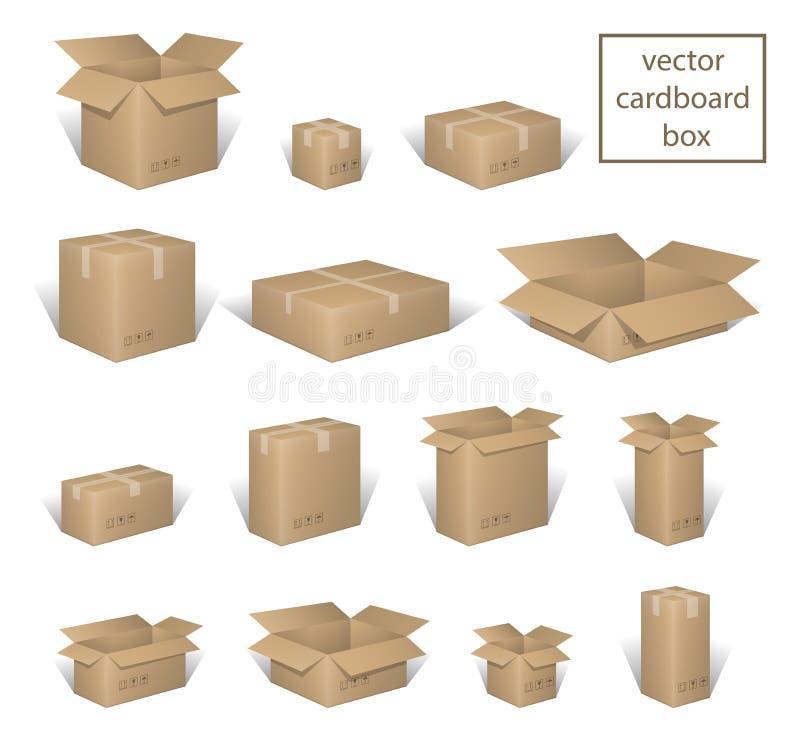 Entrega da caixa que empacota a caixa aberta e fechado, com os sinais frágeis ajustados Coleção da caixa de Brown, recipiente do  ilustração do vetor