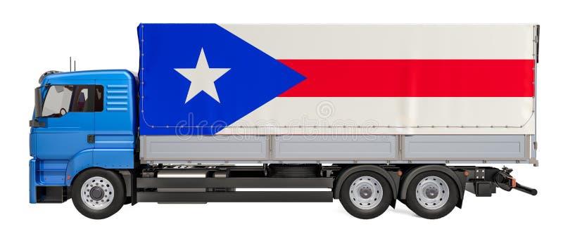 Entrega da carga no conceito de Porto Rico, rendição 3D ilustração stock