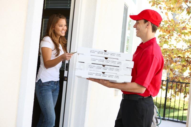 Entrega da pizza foto de stock