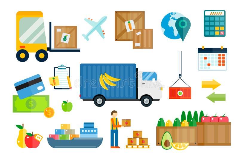 Entrega das frutas e legumes da exportação da importação ilustração stock