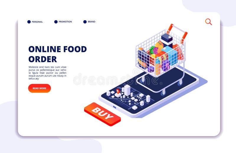 Entrega de la comida del ultramarinos Orden en línea con el app móvil Concepto isométrico del restaurante de la comida de Interne stock de ilustración