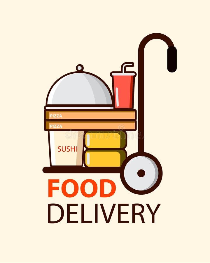 Entrega de la comida en estilo plano con las cajas, la pizza y el sushi de la comida Dise?o del ejemplo del vector ilustración del vector