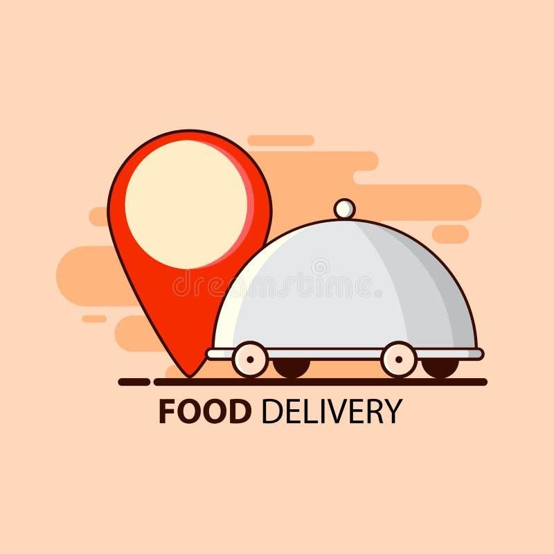 Entrega de la comida en estilo plano con la comida y el punto del restaurante Dise?o del ejemplo del vector Servicio de salida libre illustration