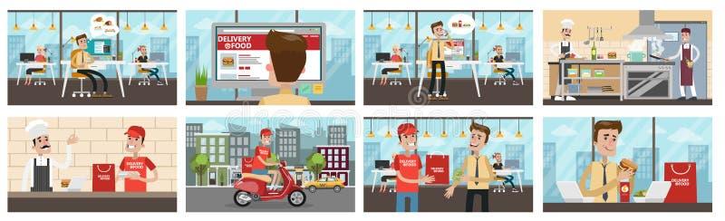 Entrega de la comida a la oficina stock de ilustración