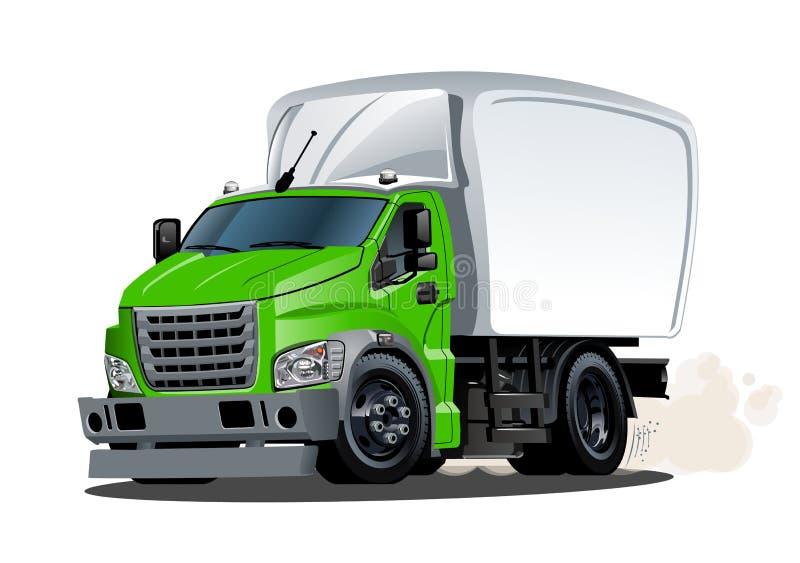 Entrega de la historieta o camión del cargo aislado en el fondo blanco stock de ilustración