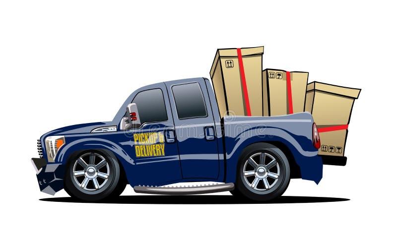 Entrega de la historieta o camioneta pickup del cargo aislada en el fondo blanco libre illustration