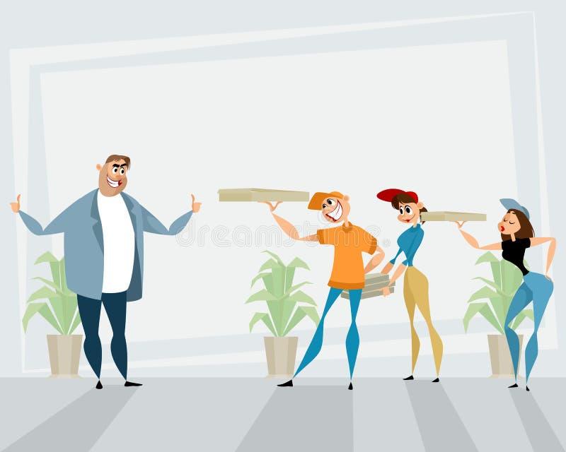 Entrega de la pizza a la oficina ilustración del vector