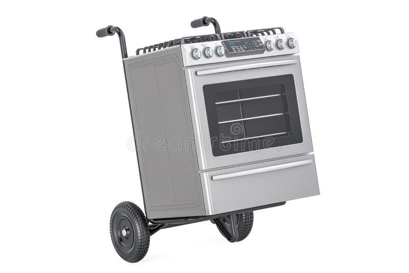Entrega del dispositivo Camión de mano con la estufa de gas, representación 3D libre illustration