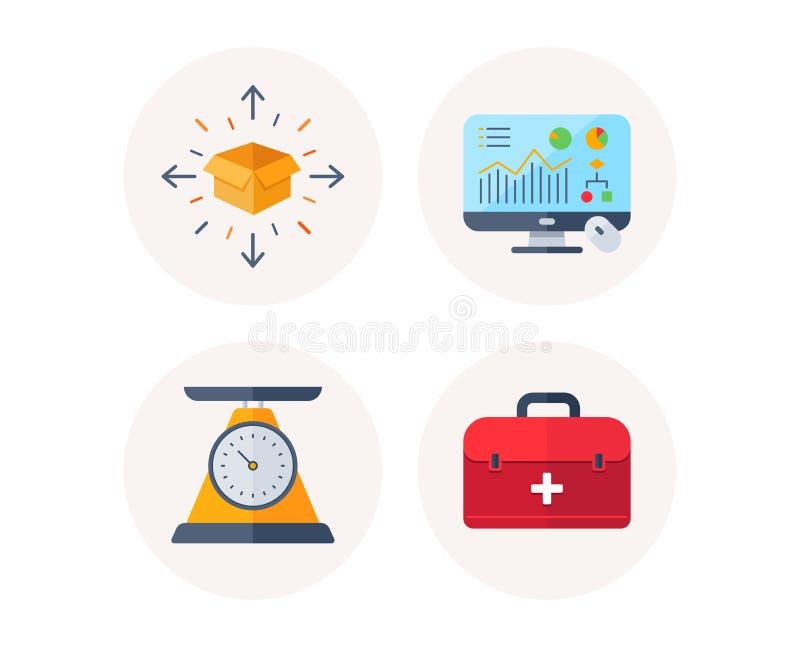 Entrega del paquete, gráfico del Analytics e iconos de la escala del peso Muestra de los primeros auxilios Vector libre illustration