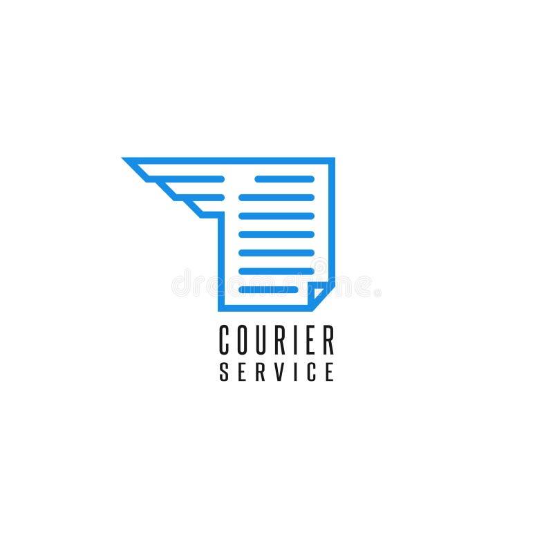 Entrega do arquivo de documento do logotipo do serviço de correio, linha fina azul asa da folha do papel do texto do sumário, pro ilustração royalty free