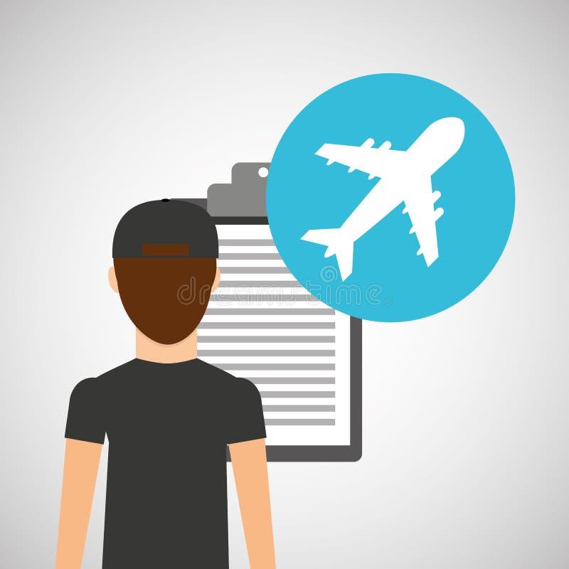 Entrega do homem que verifica a entrega do transporte do aeroporto ilustração stock