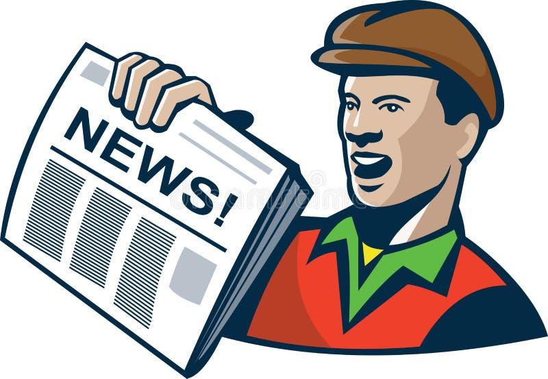 Entrega do jornal do vendedor de jornais retro ilustração royalty free