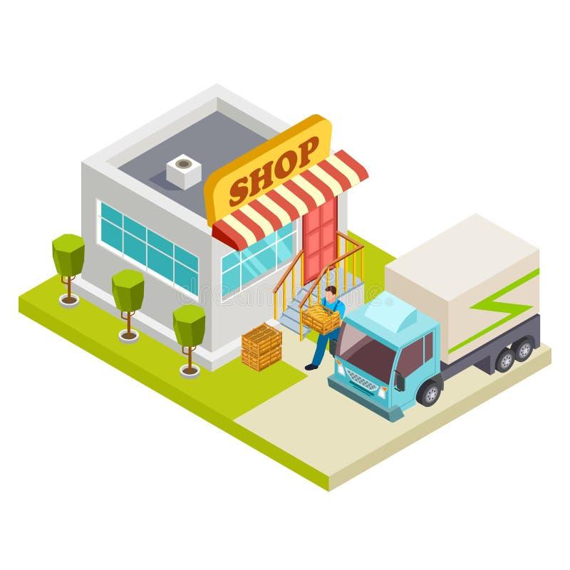 Entrega do pão a uma ilustração isométrica do vetor pequeno da loja ilustração royalty free