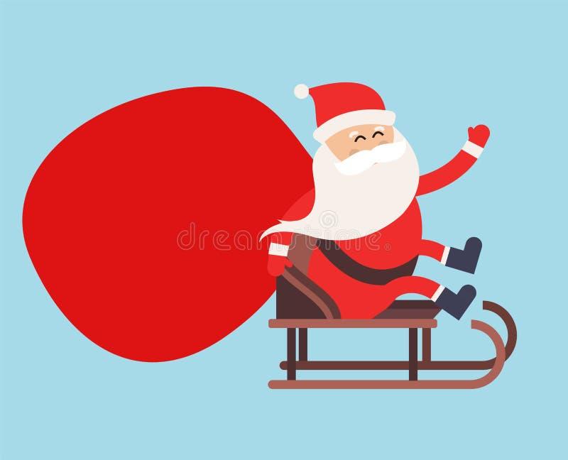 Entrega do saco do presente de Santa Claus dos desenhos animados ilustração royalty free