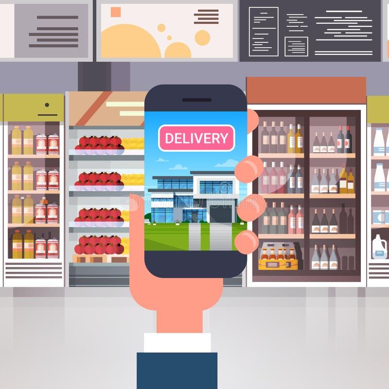 Entrega dos produtos da loja com mão usando o telefone esperto sobre o conceito interior da compra da ordem do mantimento do supe ilustração royalty free