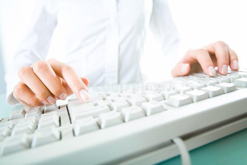 Entrega el teclado imagen de archivo