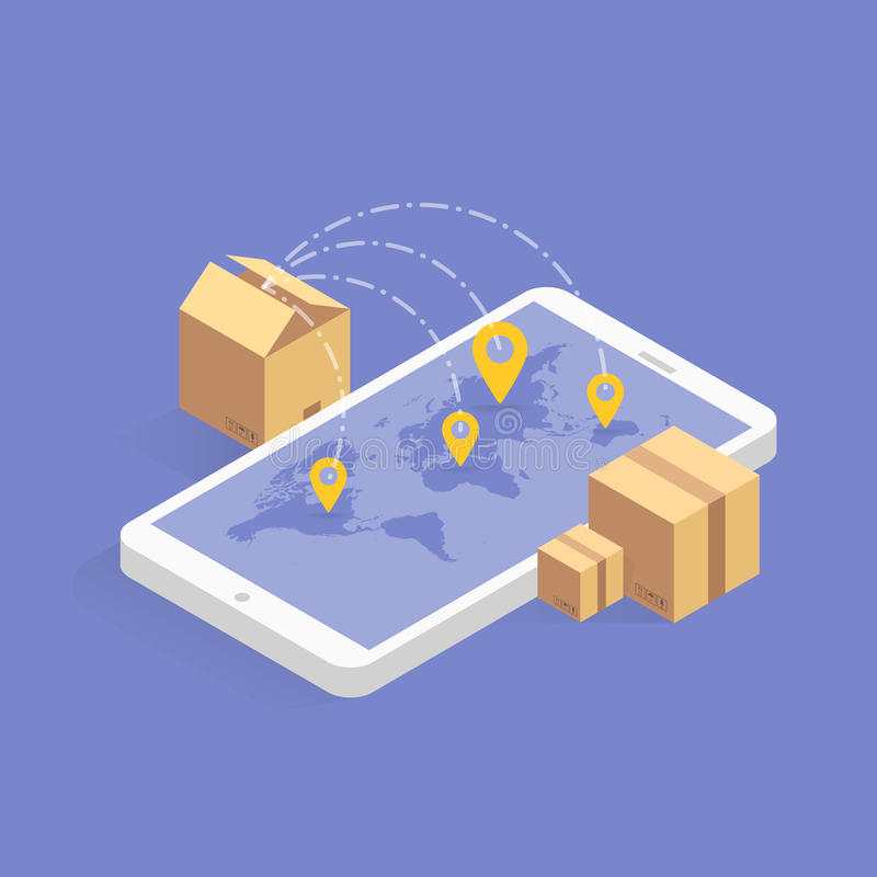 Entrega em linha que segue o ícone isométrico do conceito Ilustração do vetor Tecnologia esperta do cargo na tabuleta ou no móbil ilustração royalty free