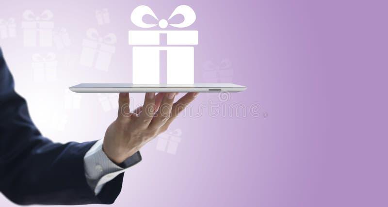 Entrega en línea del regalo de la conveniencia vía Internet fotografía de archivo