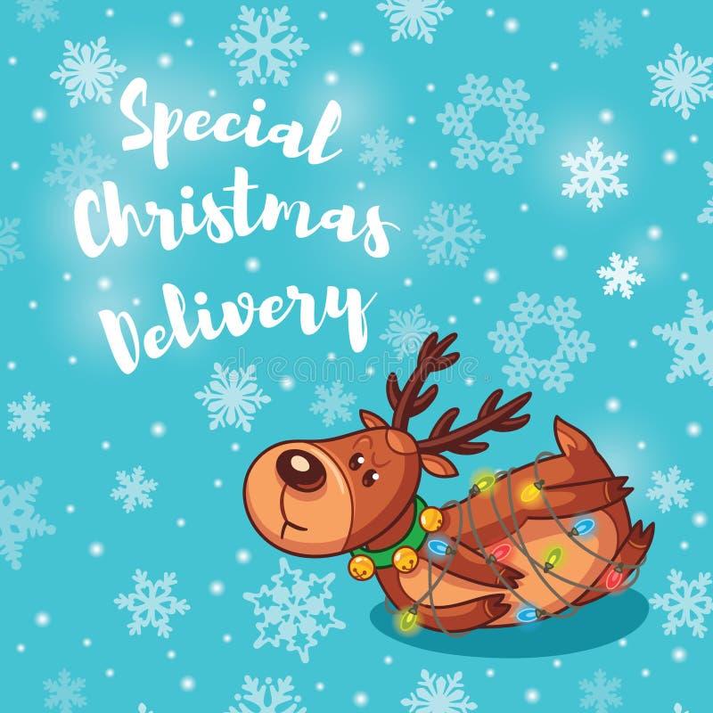 Entrega especial do Natal Cartão do feriado com os cervos bonitos dos desenhos animados ilustração do vetor