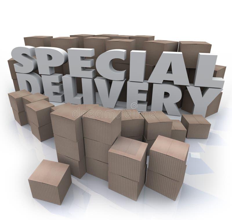 A entrega especial encaixota os pacotes que enviam segurando o armazém ilustração do vetor