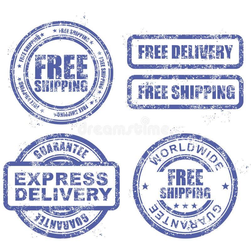 Entrega expressa e transporte mundial livre - o azul carimba ilustração stock