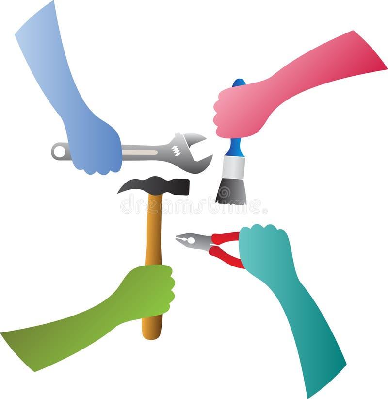 Entrega ferramentas de terra arrendada ilustração stock
