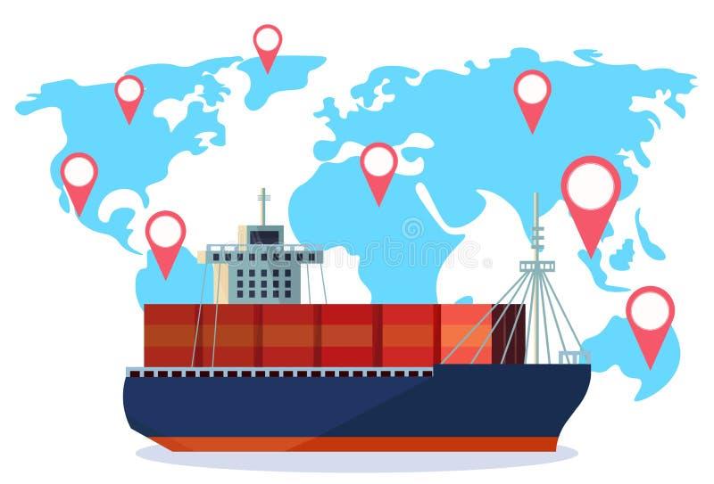 Entrega industrial da água da exportação da importação da navegação da etiqueta do geo do mapa do mundo do recipiente da logístic ilustração royalty free