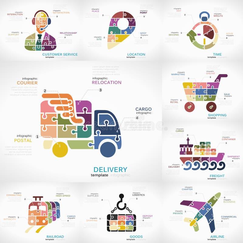 Entrega infographic stock de ilustración