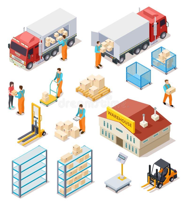 Entrega isométrica Logístico, armazém de distribuição, caminhão com os trabalhadores dos povos que levam o pacote das caixas carg ilustração do vetor