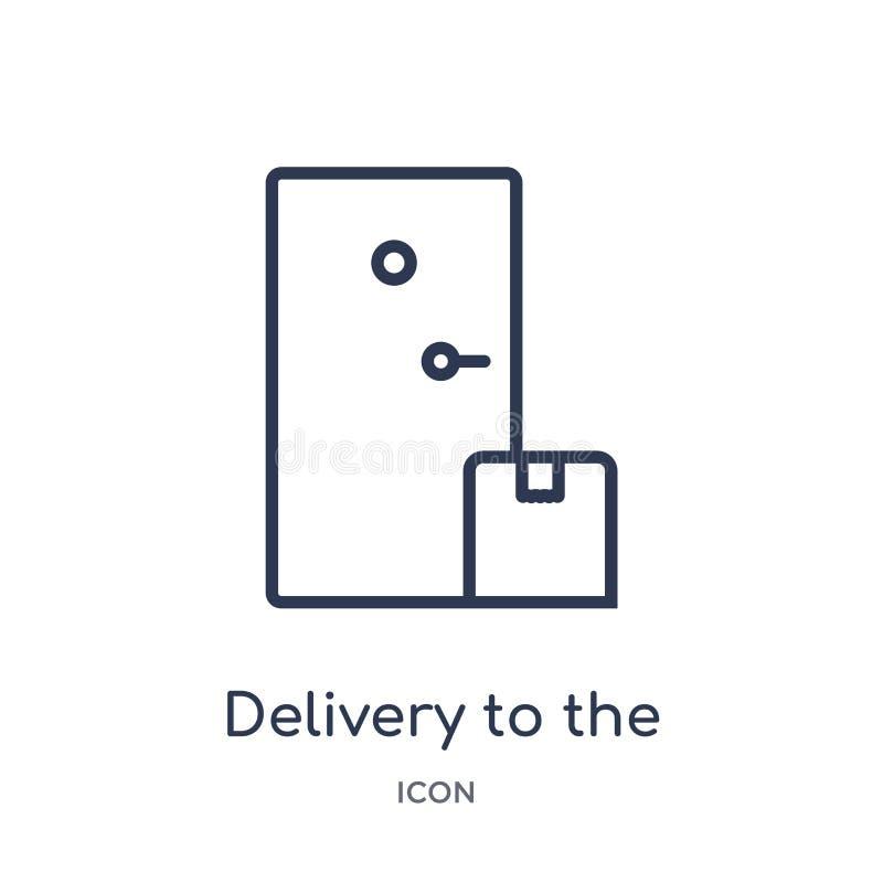 Entrega linear al icono de la puerta de la entrega y de la colección logística del esquema Línea fina entrega al vector de la pue stock de ilustración