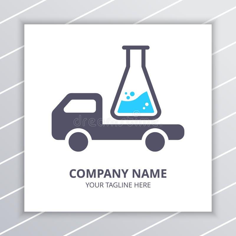 Entrega Logo Design Concept del laboratorio de investigación, botella del laboratorio y elemento del coche del camión ilustración del vector