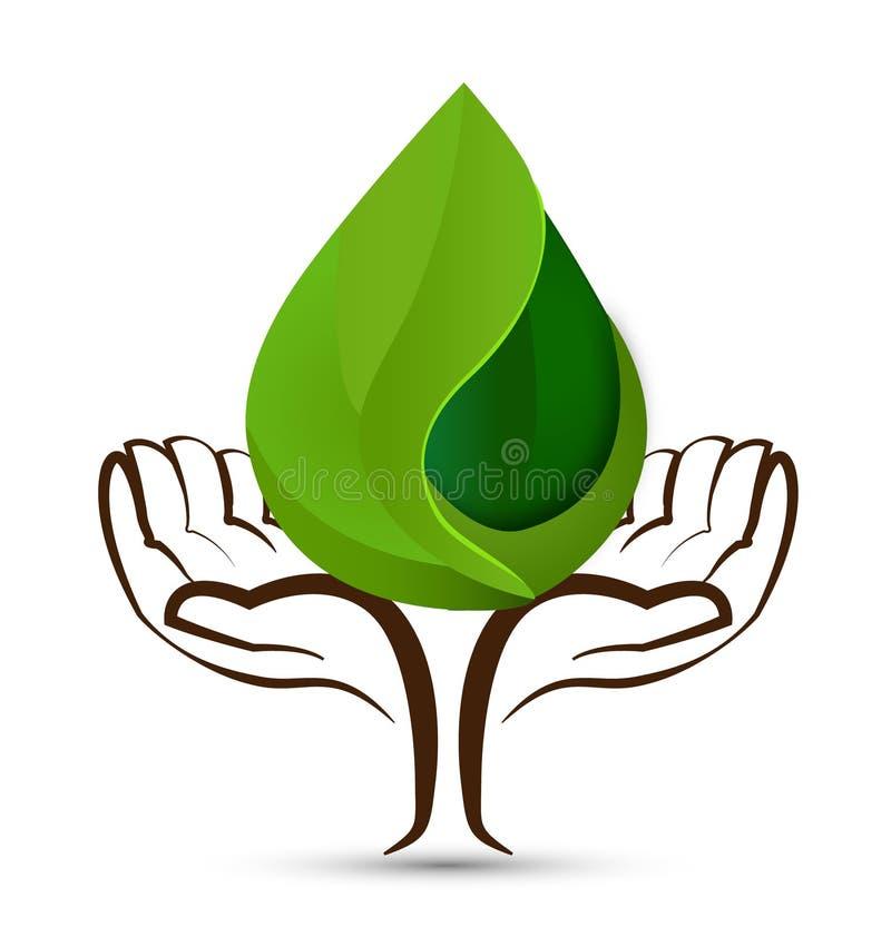 Entrega o logotipo da forma de folha das gotas da água da árvore ilustração do vetor